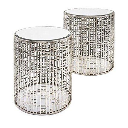 Silver Mirror Side Table Adee, Silver Mirror Side Table